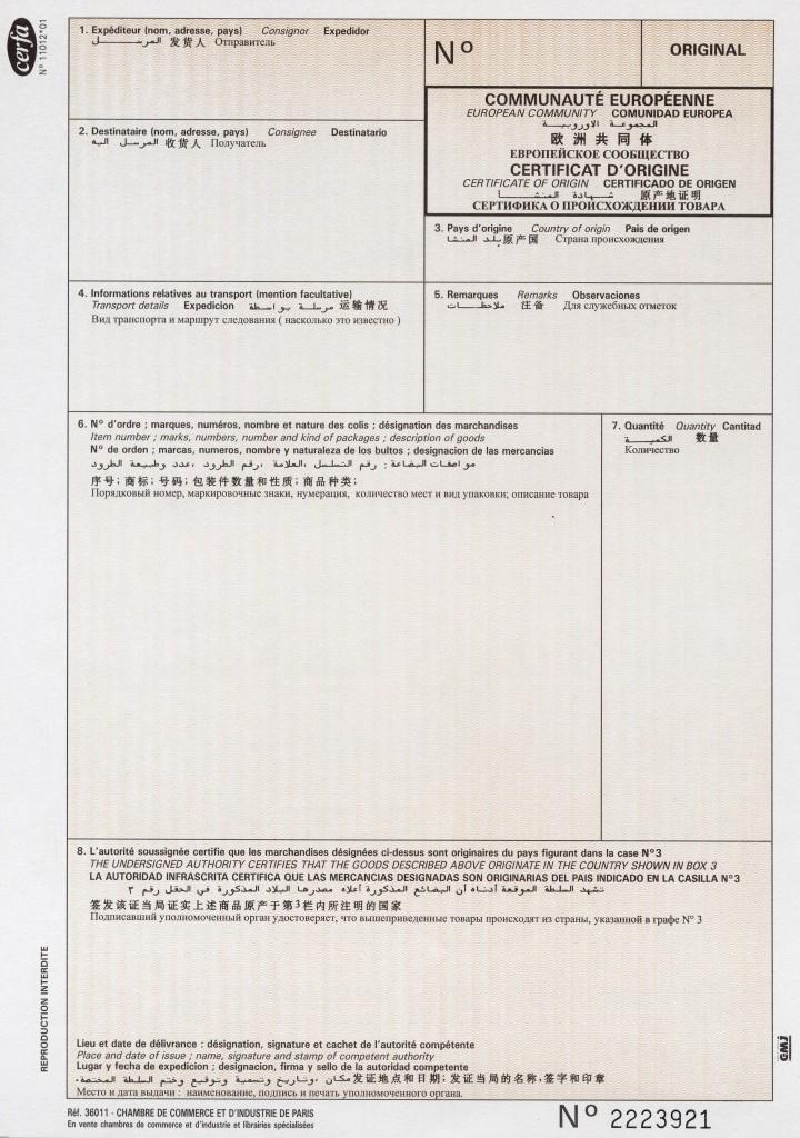 Transite et douane documents for D o documents